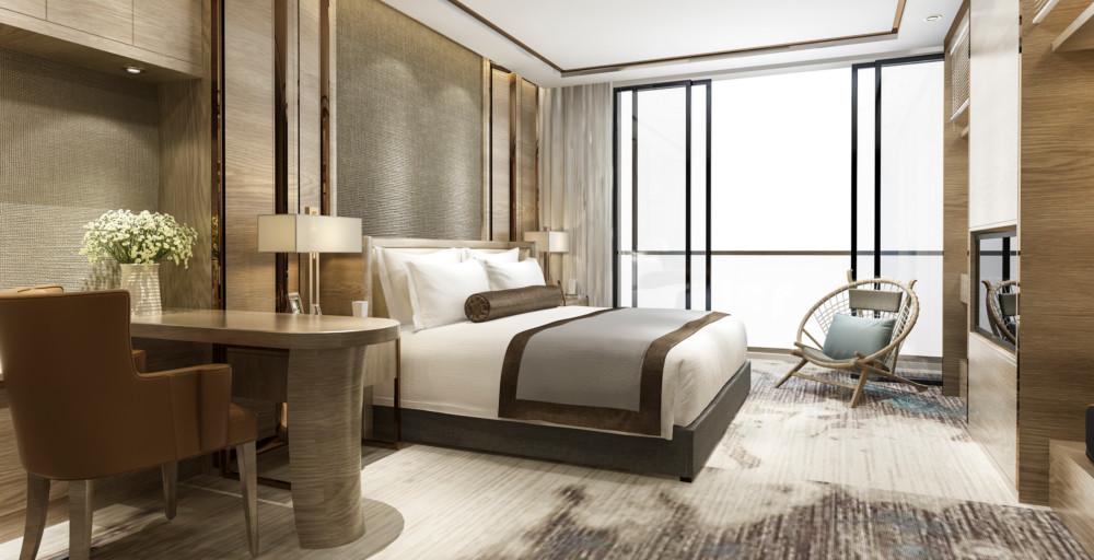 Sypialnia urządzona w nowojorskim stylu
